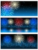 Fireworks banners. Vector illustration - set of header or banner with fireworks Royalty Free Stock Photo