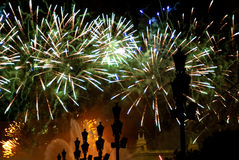 Fireworks in Barcelona Spain Royalty Free Stock Photography