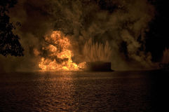 Fireworks barge explosion Royalty Free Stock Photography