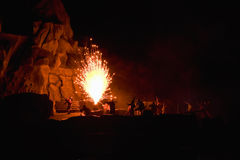 Fireworks Battle Stage Show Stock Photo