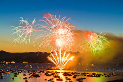 Fireworks in the bay Royalty Free Stock Photo