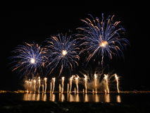 Fireworks in Bay of Cannes, 14th july, France Stock Image