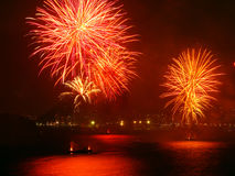 Fireworks on the beach. Beautiful fireworks celebrating new year on the beach stock images