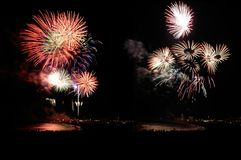 Fireworks on the beach. Exhibition of fireworks on the beach to celebrate a special date Royalty Free Stock Images