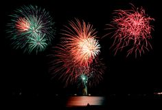 Fireworks at the beach. Stock Photos