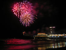 Fireworks at the beach. Picture of the international fireworks festival in Scheveningen, the Netherlands, 2004 royalty free stock images