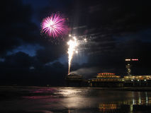 Fireworks at the beach Stock Images