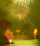 Fireworks on the beach. Celebrating new year royalty free stock image
