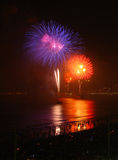 Fireworks on the beach. Celebrating new year royalty free stock photo