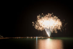 Fireworks on the beach. Copy space Royalty Free Stock Photo
