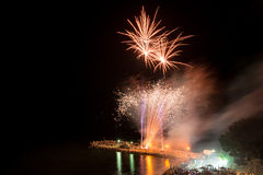 Fireworks on the beach Stock Image