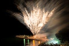 Fireworks on the beach Royalty Free Stock Photos