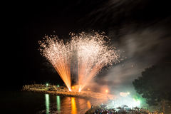 Fireworks on the beach Royalty Free Stock Photography