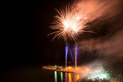 Fireworks on the beach Stock Images