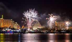 Fireworks on the beach of Eilat city, Israel Stock Images