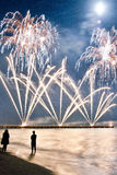 Fireworks beach of Forte dei Marmi Italy Royalty Free Stock Image