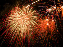 Fireworks. Beautiful colorful fireworks on a black sky Stock Photos