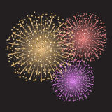 Fireworks. Beautiful colorful sparkling fireworks on dark gray background Royalty Free Stock Image