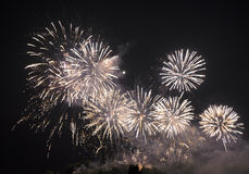 Fireworks. Multiple Fireworks in night sky in a composition in shades red and white stock photos