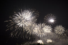 Fireworks. Multiple Fireworks in night sky in a composition in shades white royalty free stock photos