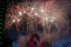 Firework. S behind a blast furnace and steel mill Stock Images