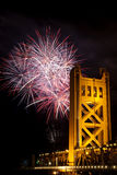 Fireworks Behind Tower Bridge Sacramento Californi Royalty Free Stock Photos