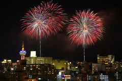 Fireworks in Beppu Royalty Free Stock Image