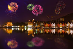 Fireworks in Bergen Norway Stock Images
