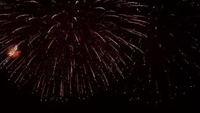 Fireworks big bang. Fireworks show fills the screen in frenetic light pops and bangs that fade from one explosion to the next. light show pyrotechnics occassions stock video