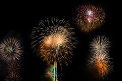 Fireworks. Big Fireworks over the River Stock Image