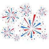 Fireworks. Big red and blue fireworks on white background. eps10 Royalty Free Stock Photo