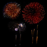 Fireworks in a black background Royalty Free Stock Photos