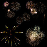 Fireworks in a black background Stock Images