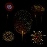 Fireworks in a black background Stock Photography