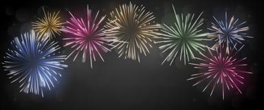 Fireworks with black background stock illustration