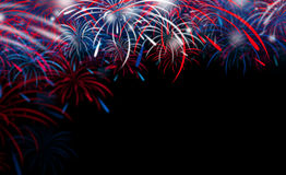 Fireworks on black background. With copy space Royalty Free Stock Photography