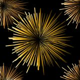 Fireworks on a black background Seamless. Seamless Fireworks on black background vector illustration. Night sky Stock Photography