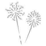 Fireworks. Black outline vector Fireworks on white background Stock Photos