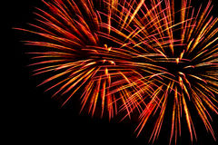 Fireworks on the black sky background Royalty Free Stock Photography