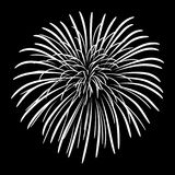 Fireworks on a black sky background. Vector illustration Stock Image