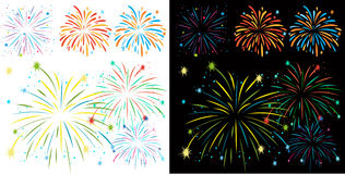 Fireworks on black and white background. Illustration Royalty Free Stock Photo