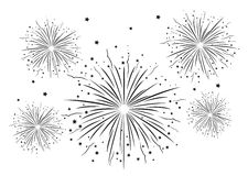 Fireworks Black and White . Vector illustration Stock Image