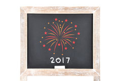 Fireworks 2017 on blackboard Royalty Free Stock Images