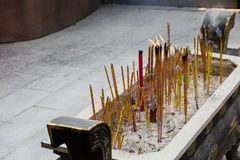 Fireworks. Blessing china incense smoke People burning incense upon the incense Stock Photos