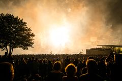 Fireworks blowing up in the festival, people are watching beauti royalty free stock photos