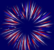 Fireworks on Blue. Red, white, and blue fireworks illustration on solid blue background Royalty Free Stock Images