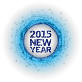 2015 Fireworks. Blue abstract circle with new yer 2015 numbers Stock Images