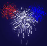 Fireworks Blue Background. Graphic illustration of red white and blue fireworks against a blue gradient background Royalty Free Stock Photos