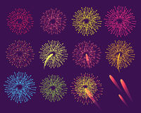 Fireworks on Blue Background. Burst of Salute. Elements vector illustration. Poster in flat style for celebration holidays and parties. Greeting card design in Stock Image