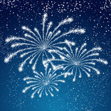 Fireworks on blue background. Shiny fireworks on blue background Royalty Free Stock Image